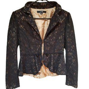 XXI Black Gold Lining Lace Blazer Jacket